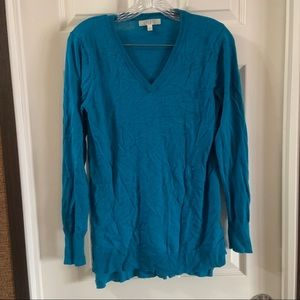 Spense Blue V Neck Long Sleeve Pullover Sweater M